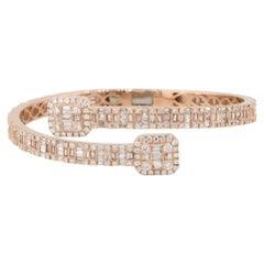 8.75 Carat Diamond Pave Open Cuff Bangle Bracelet 14 Karat in Stock