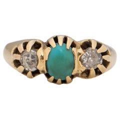 Victorian 14K Yellow Gold Turquoise and Old Mine Cut Diamond Three Stone Ring