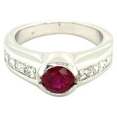 Ruby and Princess-Cut Diamond Ring in 18 Karat White Gold
