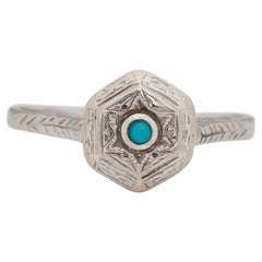 Art Deco 14K White Gold Turquoise Cabochon Vintage Solitaire Fashion Ring
