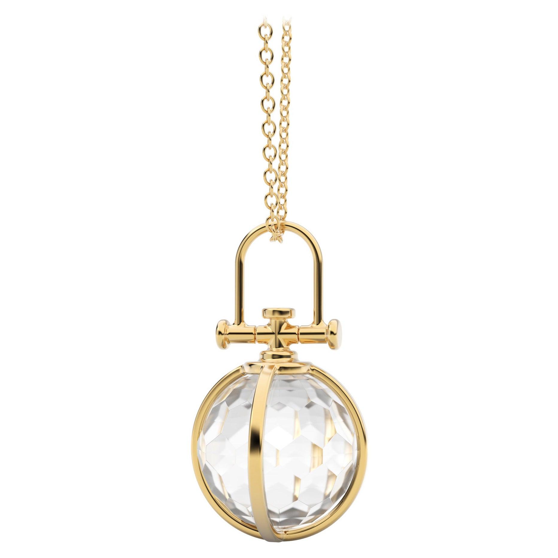 Modern Sacred 18K Gold Faceted Crystal Orb Amulet Necklace with Rock Crystal