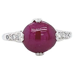 Art Deco GIA Burma No Heat Ruby Diamond Platinum Ring