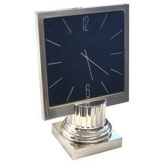 Bulgari 1980s Large Sterling Silver Desk Clock
