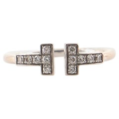 Tiffany & Co. T Wire Ring 18K White Gold with Diamonds