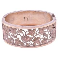 HM 1883 Silver and Gold Pierced Oak Leaf Cuff Bracelet