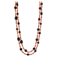 Coral, Onyx and Yellow Gold Beaded Rope Necklace