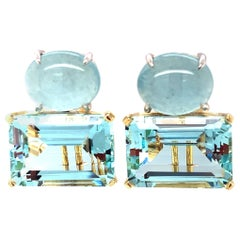 24 Carat Total Aquamarine Cabochon Faceted Yellow White Gold Omega Clip Earrings