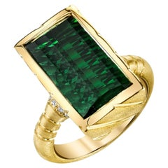 9.13 Carat Fantasy Cut Rectangular Green Tourmaline Diamond Yellow Gold Ring