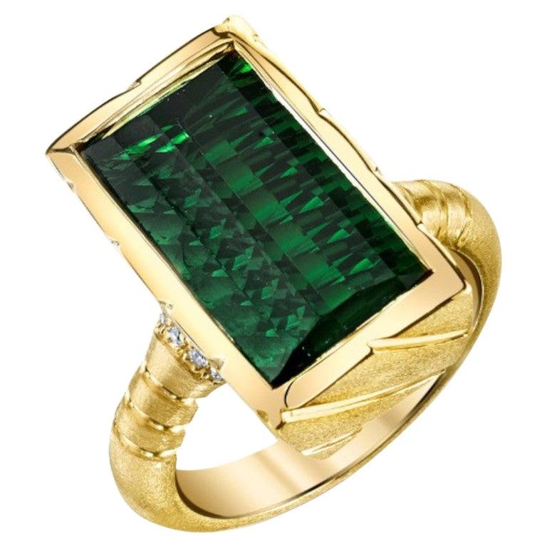 9.13 Carat Fantasy Cut Rectangular Green Tourmaline Diamond Yellow Gold Ring  For Sale