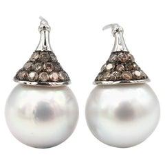 White South Sea Pearl Champagne Diamond White Gold Pierced Earrings