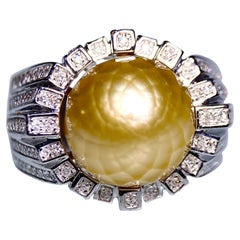Faceted Golden South Sea Pearl and Diamond Ring in 18k White Gold