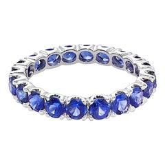 Full Eternity Blue Sapphire Wedding Ring Band in 18K White Gold