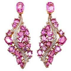 14.3 Carat Pink Sapphire & Diamond Earring in 18 Karat Rose Gold