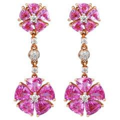 6.9 Carat Pink Sapphire & Diamond Earring in 18 Karat Rose Gold