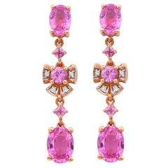3.5 Carat Pink Sapphire & Diamond Earring in 18 Karat Rose Gold