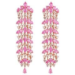 11.3 Carat Pink Sapphire & Diamond Earring in 18 Karat Rose Gold