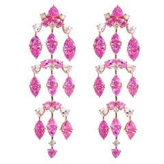 14.4 Carat Pink Sapphire & Diamond Earring in 18 Karat Rose Gold