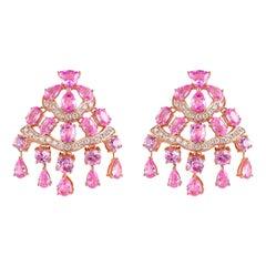 11.6 Carat Pink Sapphire & Diamond Earring in 18 Karat Rose Gold