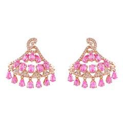 8.3 Carat Pink Sapphire & Diamond Earring in 18 Karat Rose Gold