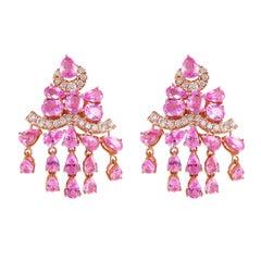 9.7 Carat Pink Sapphire & Diamond Earring in 18 Karat Rose Gold
