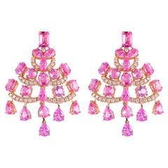 12.4 Carat Pink Sapphire & Diamond Earring in 18 Karat Rose Gold
