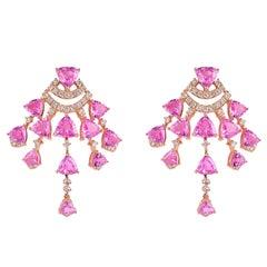 10.5 Carat Pink Sapphire & Diamond Earring in 18 Karat Rose Gold
