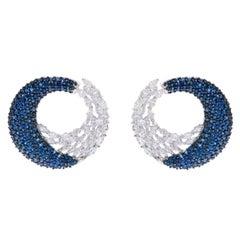 18 Karat White Gold 5.67 Carat Blue Sapphire and Diamond Cocktail Hoop Earrings
