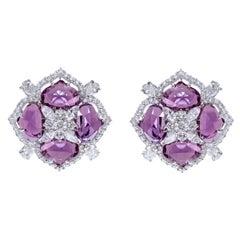 18 Karat White Gold 11.60 Carat Pink Sapphire and Diamond Cocktail Stud Earrings