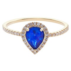 Pear Shape Blue Sapphire and Diamond Engagement Ring in 18K Yellow Gold