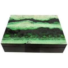 Green Grossular Garnet Decorative Jewelry Gemstone Box with Black Marble