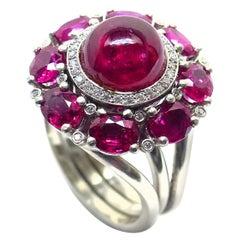 Leyser 950/ Platinum Ruby and Diamond Ring