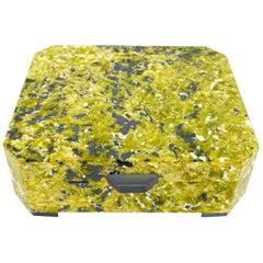 Yellow Lizardit Serpentine Decorative Jewelry Gemstone Box with Black Marble