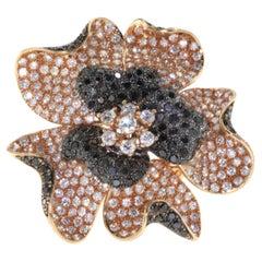 Vintage Diamond and Black Diamond Flower Gold Ring
