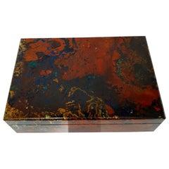 Red Brown Zarinite Decorative Jewelry Gemstone Box with Black Marble