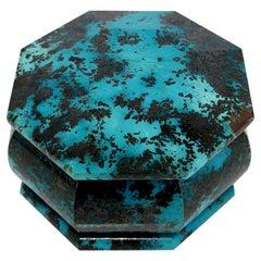 Octagon Turquoise Coloured Shattuckite Decorative Jewelry Gemstone Box