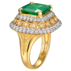4.78 Carat Emerald Diamond Cocktail Ring in 18K White and Yellow Gold
