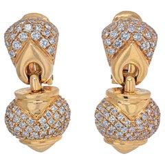 Bvlgari 18K Yellow Gold Chandra Diamond Heart Earrings