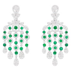 Chandelier Earrings Emeralds 3.46 Carats and Diamonds 3.87 Carats