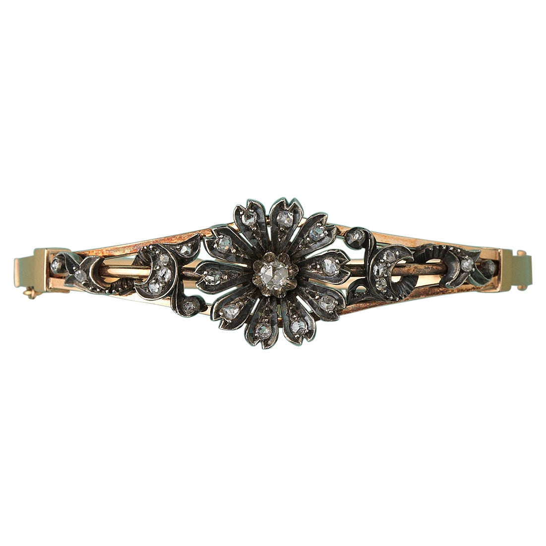 Gold Bangle with a Diamond Flower