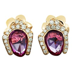 Amwaj 18 Karat Rose Gold Arabesque Stud Earrings with Pink Sapphires