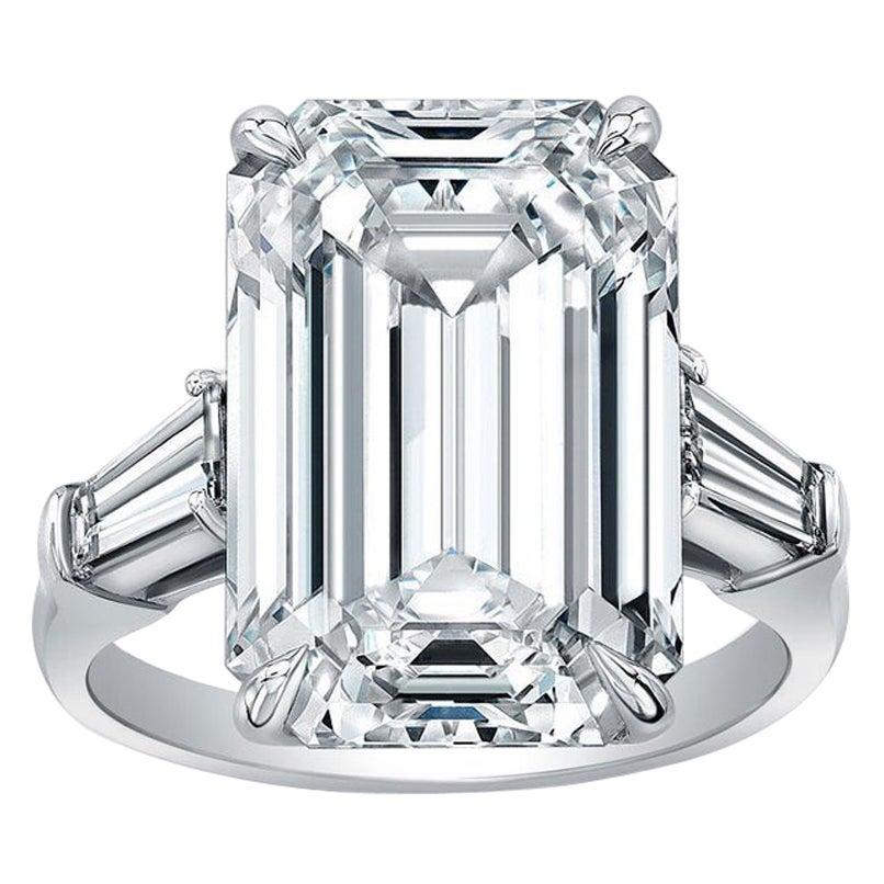 Flawless Type IIA GIA Certified 6.52 Carat Emerald Cut Diamond Ring
