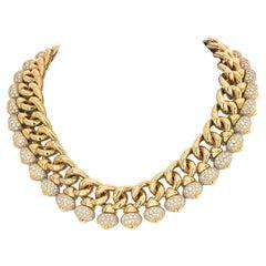 Bvlgari 18K Yellow Gold 50 Carat Diamond Chandra Curb Link Necklace
