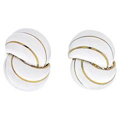 David Webb White Enamel Yellow Gold Clip Earrings