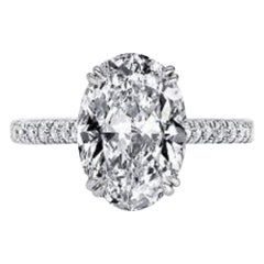 GIA Certified 5 Carat Oval Brilliant Diamond Solitaire Engagement Ring