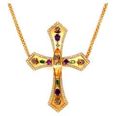 5.08 Carat Topaz, Diamond and Gemstone Gold Cross Necklace Estate Fine Jewelry