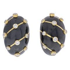 Tiffany & Co. Schlumberger 18K Yellow Gold Diamond Black Enamel Banana Earrings