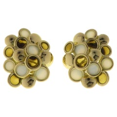 Vintage Brown & White Enamel 18 Karat Yellow Gold Clip on Earrings Made in Italy