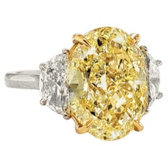 Scarselli 6 Carat Fancy Yellow Oval Engagement Diamond Ring GIA Certified