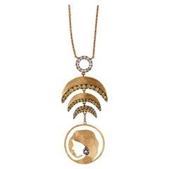 Ammanii Halo Pendant Necklace in Vermeil Gold