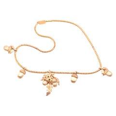 C1880 18k Acorn Necklace with 4 Silver Gilt Acorns and 18K Acorn Pendant